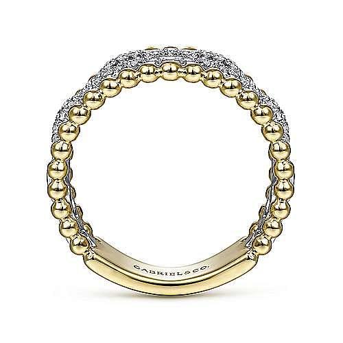 14K White-Yellow Gold Pavé Diamond Link and Bujukan Bead Ring