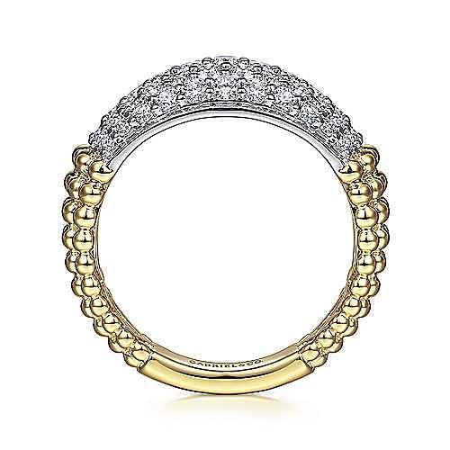 14K White-Yellow Gold Pavé Diamond and Bujukan Bead Wide Band
