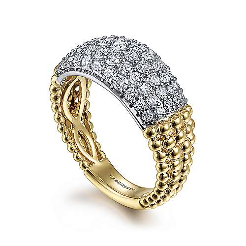 14K White-Yellow Gold Pavé Diamond and Bujukan Bead Wide Band