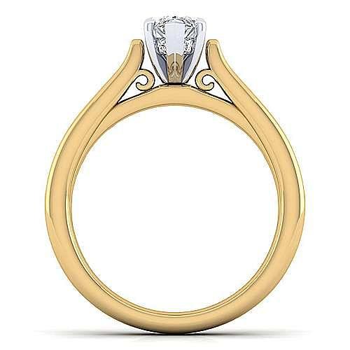 14K White-Yellow Gold Pear Shape Diamond Engagement Ring
