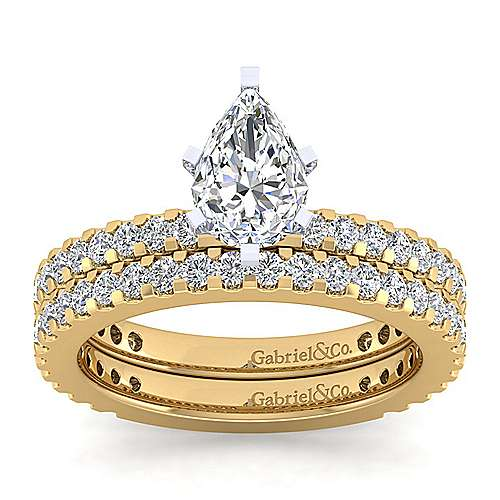 14K White-Yellow Gold Pear Shape Diamond Engagement Ring