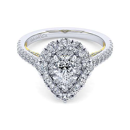 14K White-Yellow Gold Pear Shape Double Halo Diamond Engagement Ring