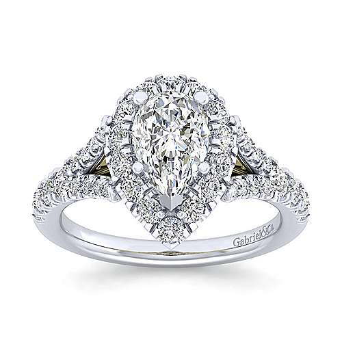 14K White-Yellow Gold Pear Shape Halo Diamond Engagement Ring