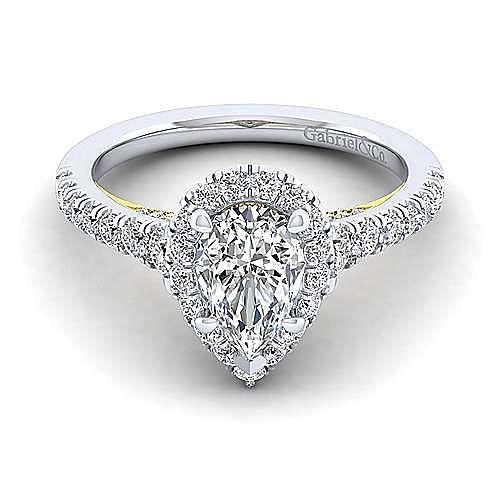 14K White-Yellow Gold Pear Shape Halo Diamond Engagement Ring