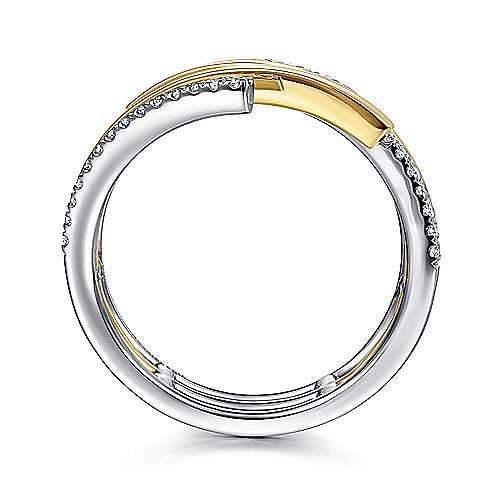 14K White-Yellow Gold Plain and Diamond Row Statement Ring