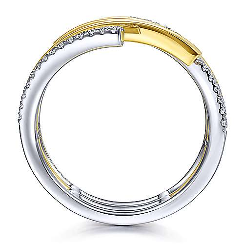 14K White-Yellow Gold Plain and Diamond Row Wrap Ring