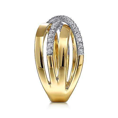 14K White-Yellow Gold Polished Band and Diamond Row Criss Cross Ring