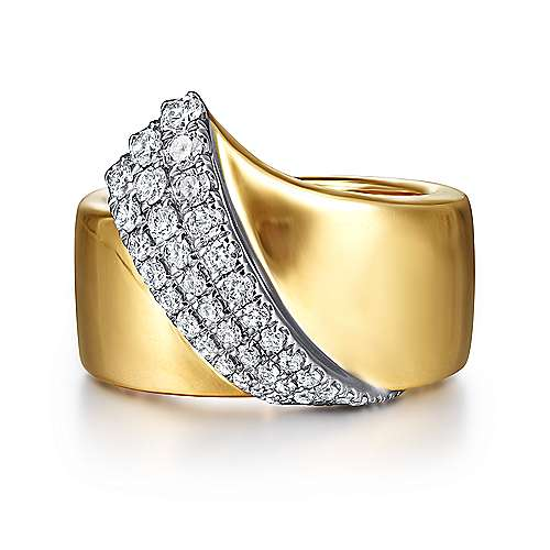 14K White-Yellow Gold Polished Metal and Diamond Pavé Wrap Ring