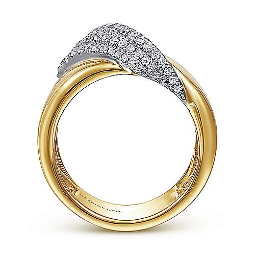 14K White-Yellow Gold Polished Metal and Diamond Pavé Wrap Ring