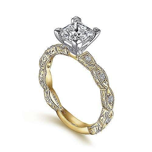 14K White-Yellow Gold Princess Cut Diamond Engagement Ring