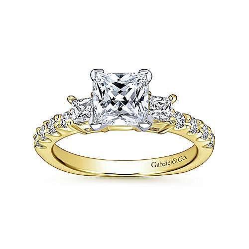 14K White-Yellow Gold Princess Cut Three Stone Diamond Engagement Ring