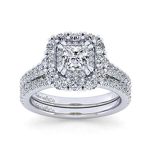 14K White-Yellow Gold Princess Double Halo Diamond Engagement Ring