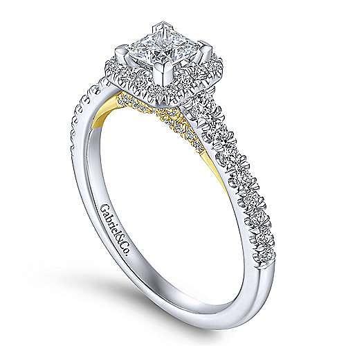 14K White-Yellow Gold Princess Halo Complete Diamond Engagement Ring