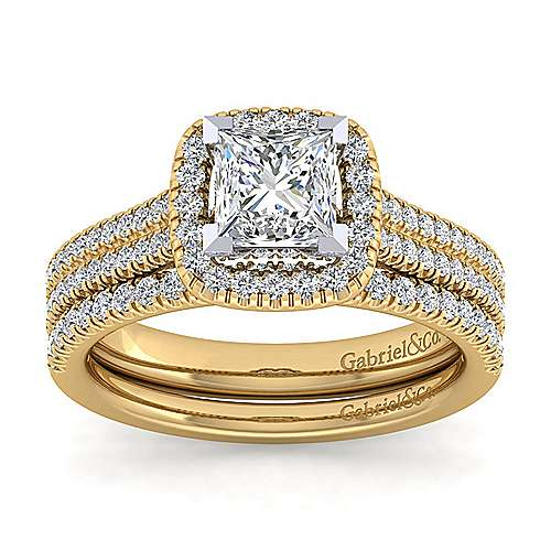 14K White-Yellow Gold Princess Halo Diamond Engagement Ring