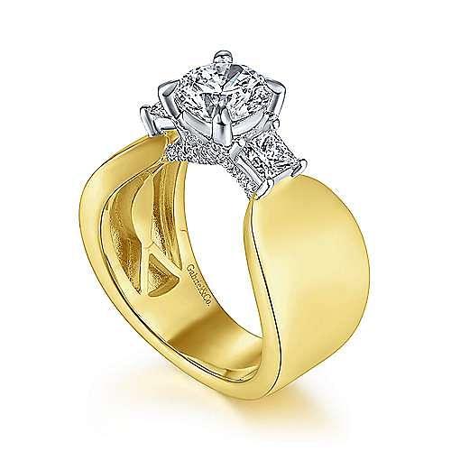 14K White-Yellow Gold Round 3 Stone Diamond Engagement Ring