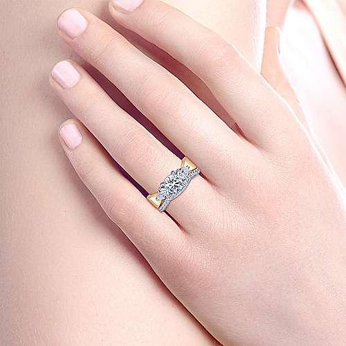 14K White-Yellow Gold Round 3 Stone Diamond Engagement Ring