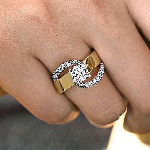14K White-Yellow Gold Round Bypass Diamond Engagement Ring