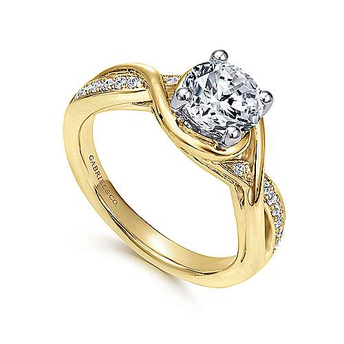14K White-Yellow Gold Round Diamond Bypass Engagement Ring