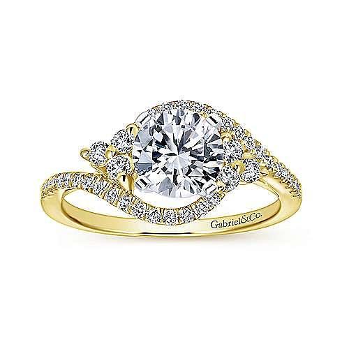 14K White-Yellow Gold Round Diamond Bypass Engagement Ring