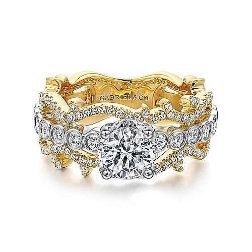 14K White-Yellow Gold Round Diamond Engagement Ring