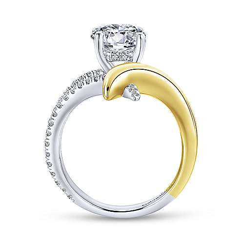 14K White-Yellow Gold Round Diamond Engagement Ring