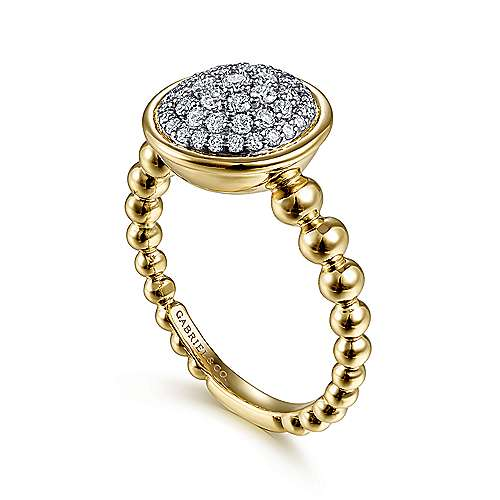 14K White-Yellow Gold Round Diamond Pavé Center Ring with Bujukan Bead Shank