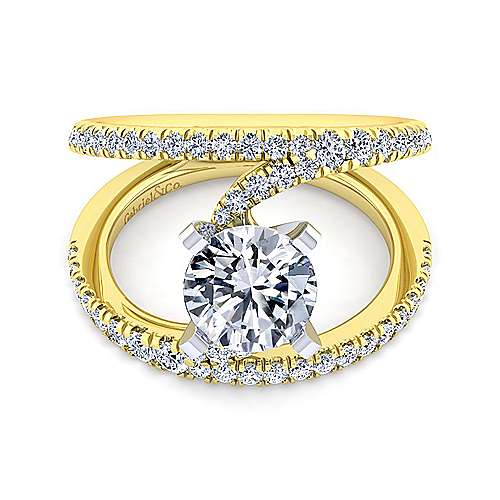 14K White-Yellow Gold Round Diamond Split Shank Engagement Ring