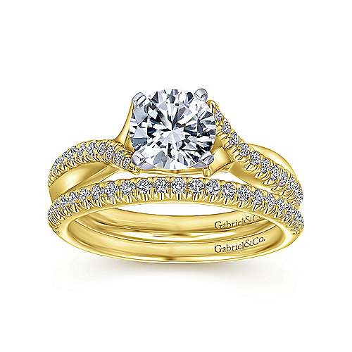 14K White-Yellow Gold Round Diamond Twisted Engagement Ring