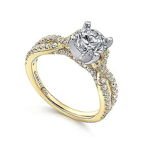 14K White-Yellow Gold Round Diamond Twisted Engagement Ring