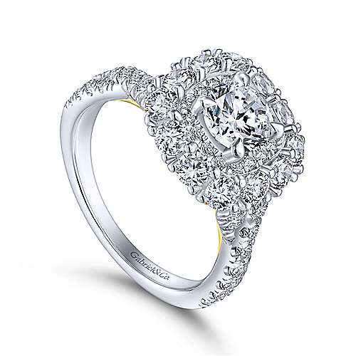 14K White-Yellow Gold Round Double Halo Diamond Engagement Ring
