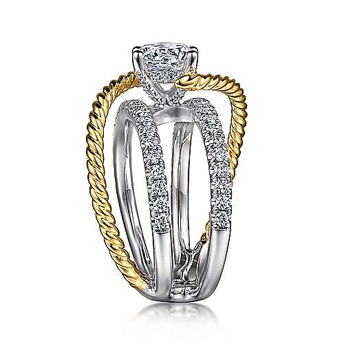 14K White-Yellow Gold Round Freeform Diamond Engagement Ring