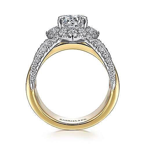 14K White-Yellow Gold Round Halo Diamond Engagement Ring