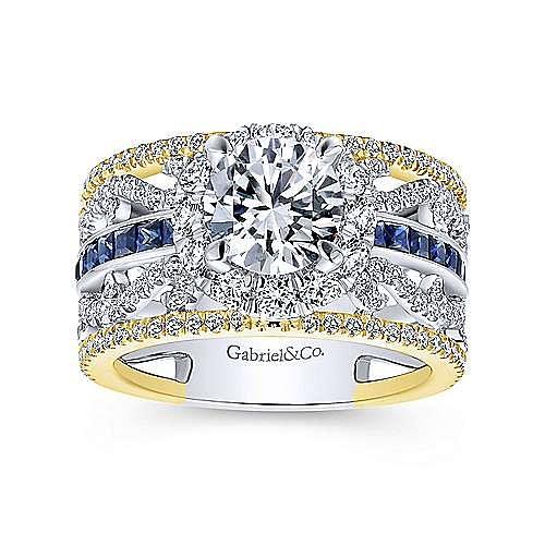 14K White-Yellow Gold Round Halo Sapphire and Diamond Engagement Ring
