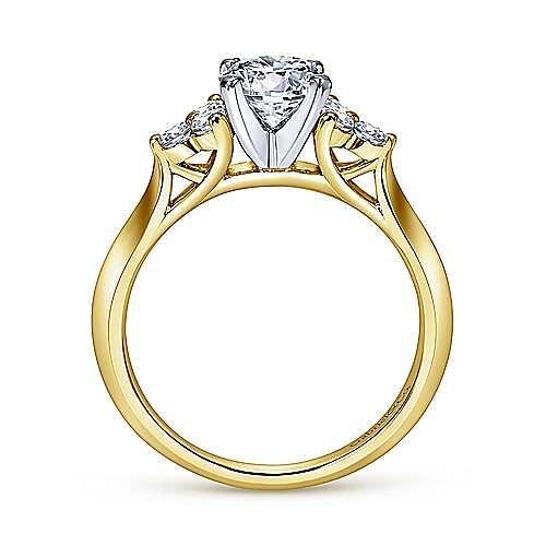 14K White-Yellow Gold Round Three Stone Cluster Diamond Engagement Ring