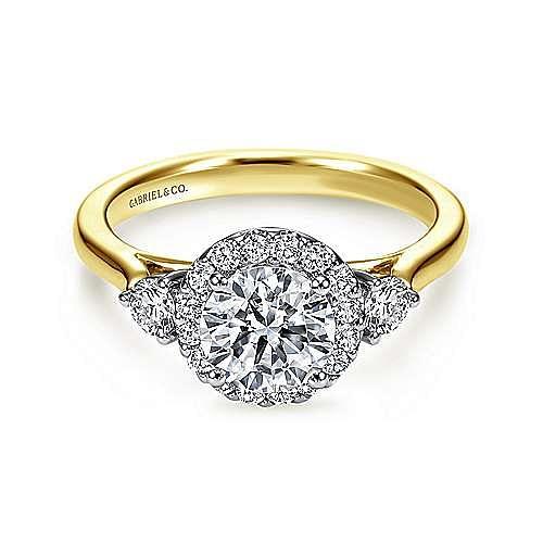 14K White-Yellow Gold Round Three Stone Halo Diamond Engagement Ring