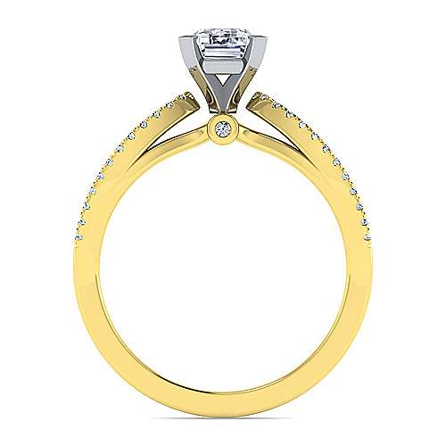 14K White-Yellow Gold Split Shank Emerald Cut Diamond Engagement Ring