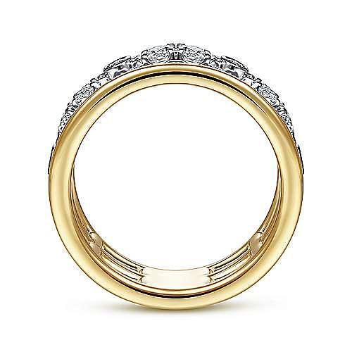 14K White-Yellow Gold Three Row Diamond Open Ring