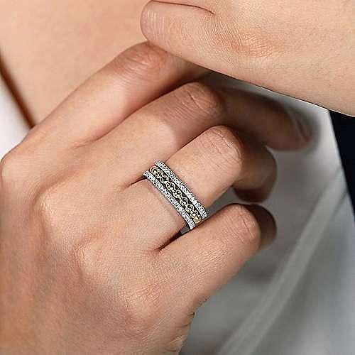 14K White-Yellow Gold Three Row Diamond and Bujukan Bead Center Ring