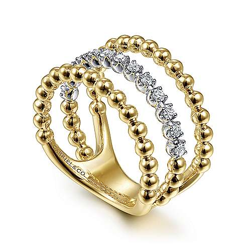 14K White-Yellow Gold Three Row Diamond and Bujukan Bead Ring