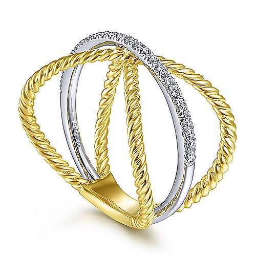 14K White-Yellow Gold Twisted Criss Cross X Shaped Diamond Ring