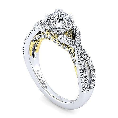 14K White-Yellow Gold Twisted Cushion Cut Diamond Engagement Ring