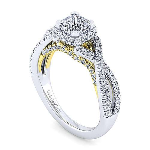 14K White-Yellow Gold Twisted Cushion Cut Diamond Engagement Ring