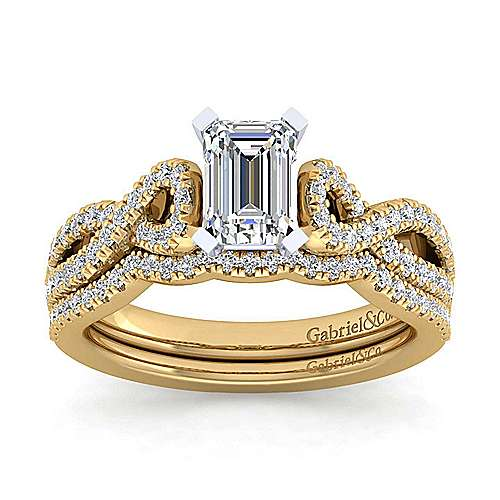14K White-Yellow Gold Twisted Emerald Cut Diamond Engagement Ring
