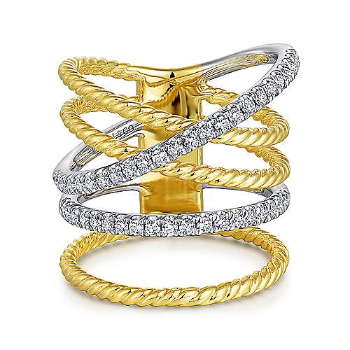 14K White-Yellow Gold Twisted Layered Wide Band Diamond Ring