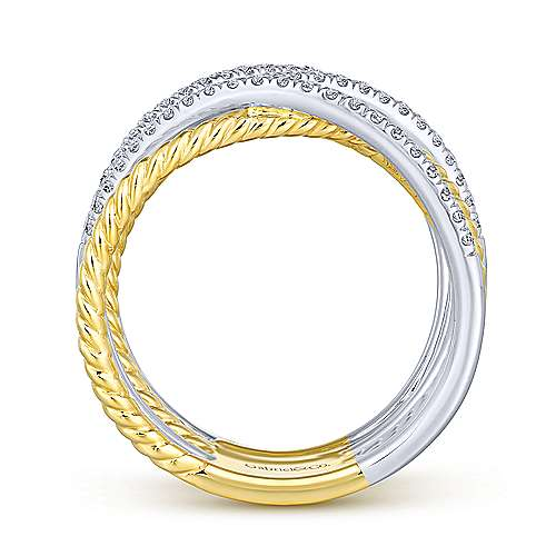14K White-Yellow Gold Twisted Layered Wide Band Diamond Ring
