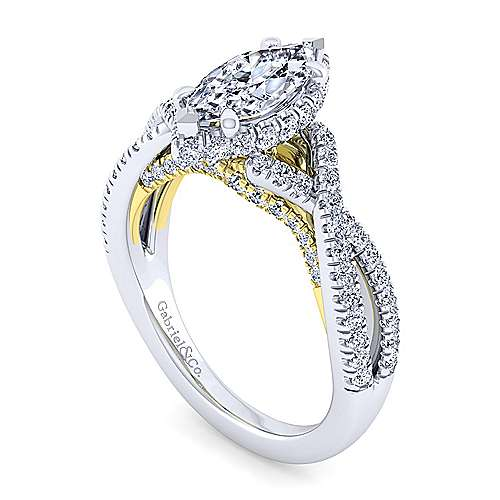 14K White-Yellow Gold Twisted Marquise Shape Diamond Engagement Ring