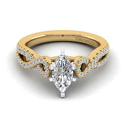 14K White-Yellow Gold Twisted Marquise Shape Diamond Engagement Ring