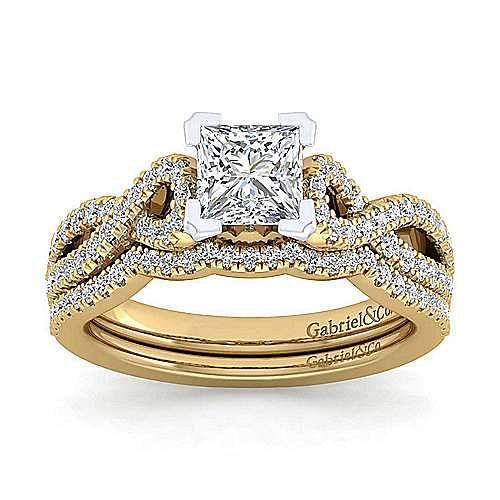 14K White-Yellow Gold Twisted Princess Cut Diamond Engagement Ring