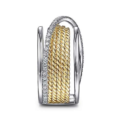 14K White-Yellow Gold Twisted Rope Wide Band with Wrapping Diamond Row