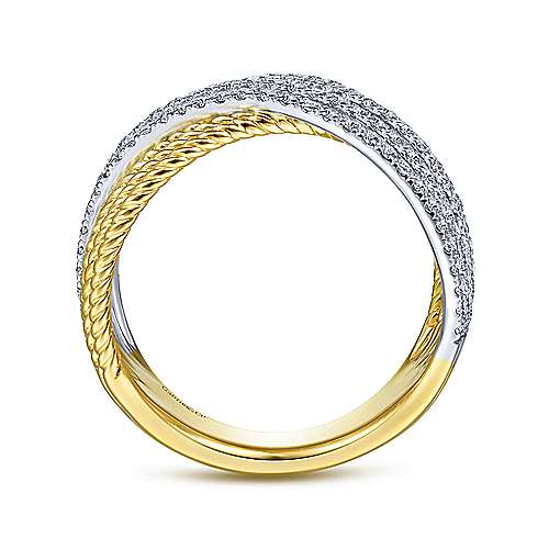 14K White-Yellow Gold Twisted Rope and Diamond Criss Cross Ring